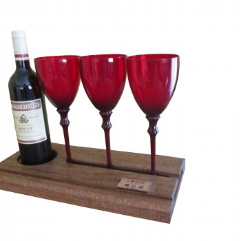 Wine Server with Three glasses. Manufactured in wood finished natural or painted Priced from R350 code W-3